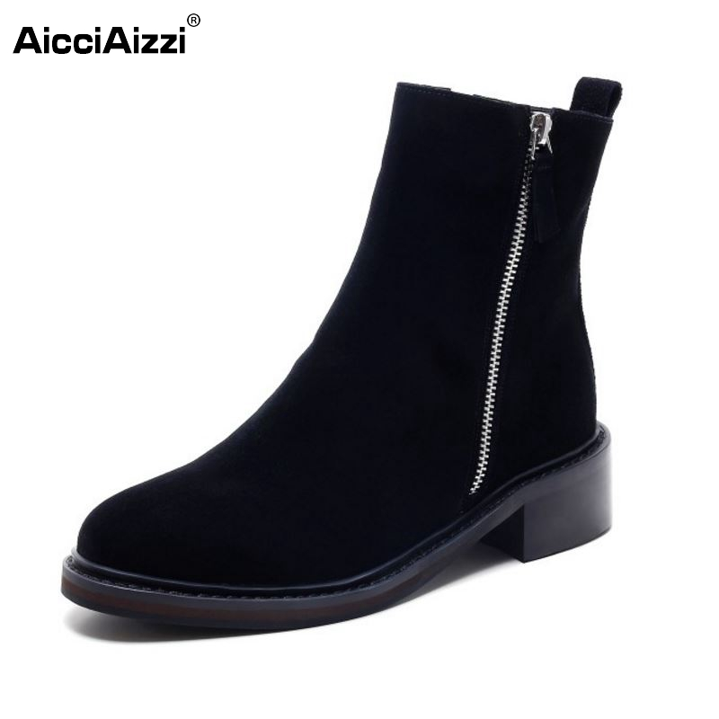 Women Real Genuine Leather Flats Half Boots Fashion Zipper Botas Mujer Woman Round Toe Flat Footwear Shoes Size 33-42