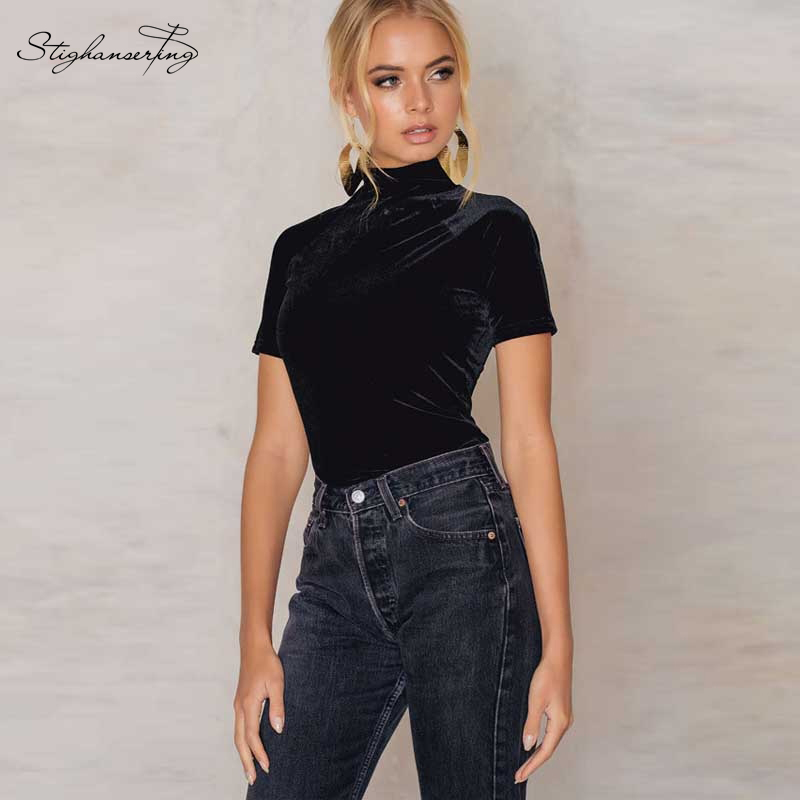 2017 Women Velvet T Shirts Sexy Backless Black Turtleneck -7823