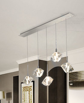 Modern Stainless Steel Long / Round Chrome Base with LED Clear K9 Diamond Hanging Crystal Pendant Lights For Home Dining Room