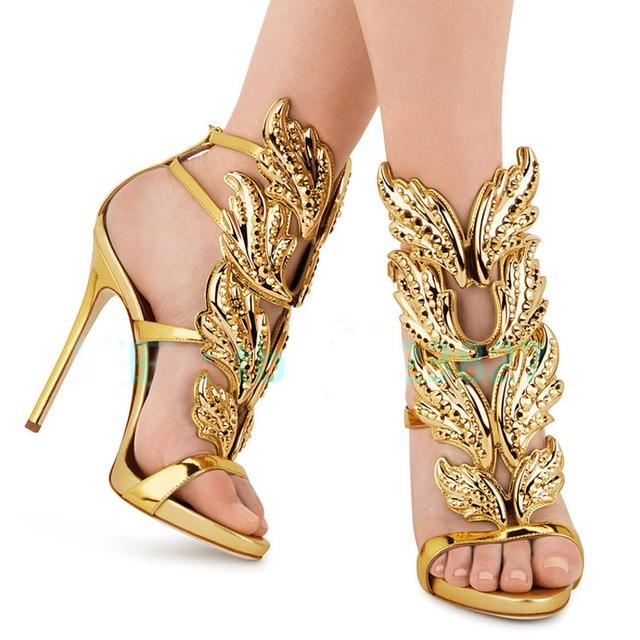 LTTL Hot Shoes Women Sandals Sliver Gold Metallic Rhinestone Shoes Women Cut -outs Wing Sandals d0e188e5dabb