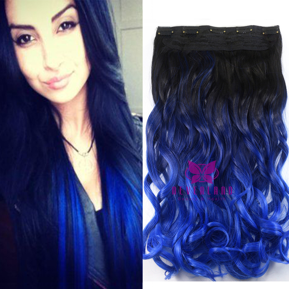 Colorful 24 60cm One Piece Clip In Hair Extensions 2 Tone
