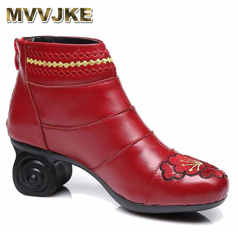 MVVJKE Handmade Women Shoes Genuine Leather Women Boots Spring Autumn Vintage Ankle Boots Flat Bootie Botas Mujer handmade women shoes genuine leather women boots spring autumn vintage ankle boots flat bootie botas mujer