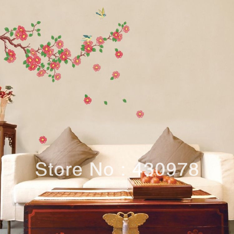 QZ016 Free Shipping 1Pcs Falling Red Flower Leaf Butterfly Removable PVC Wall Stickers <font><b>Elegant</b></font> Fancy <font><b>Home</b></font> <font><b>Decoration</b></font> Gift