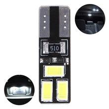 10 pces t10 5630 6smd w5w carro led canbus nenhuma largura de erro luz lâmpada da placa licença