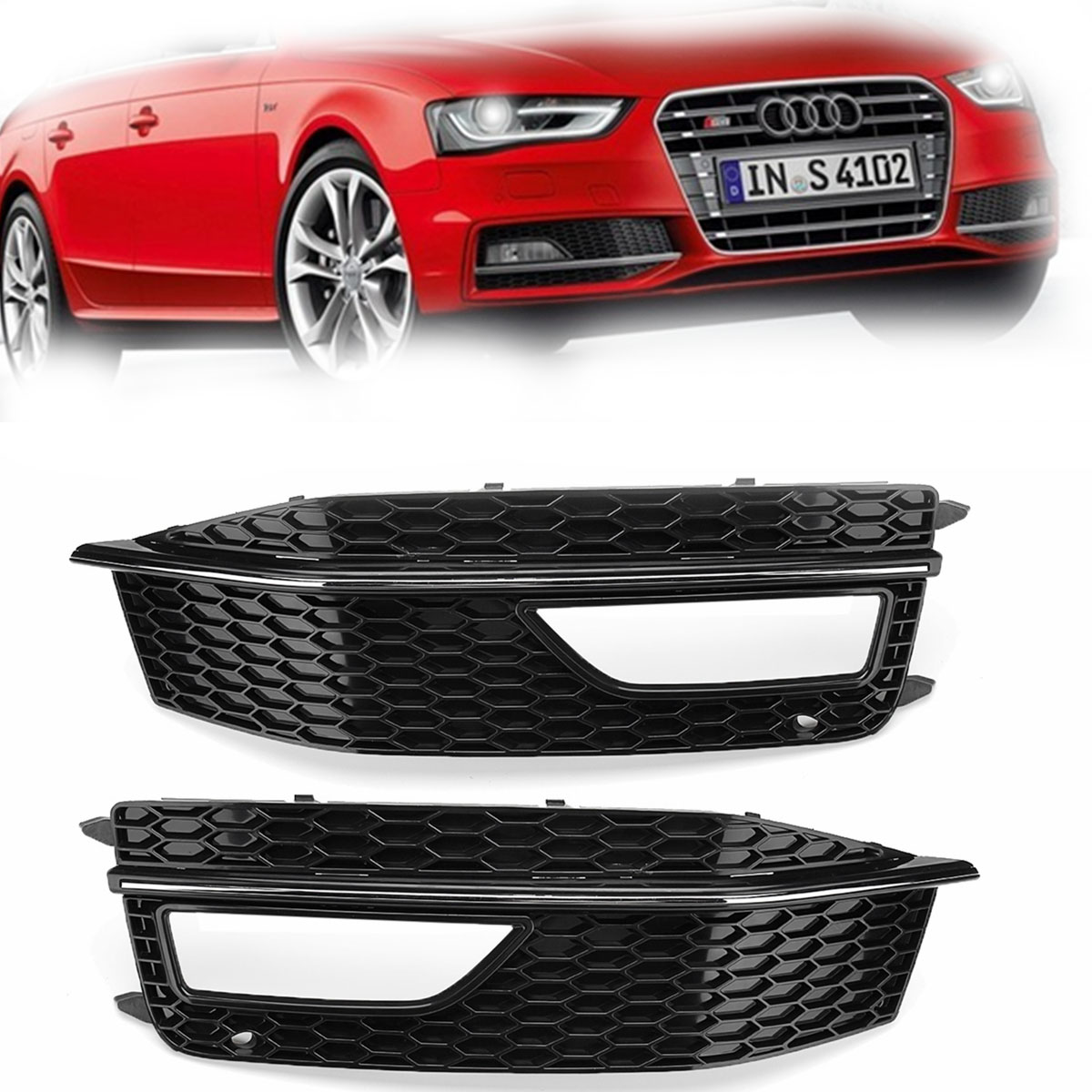 Car Left/Right Side Front Lower Bumper Fog Light Grille Cover Replacements Plastics Black For Audi A4 B8 S4 S line