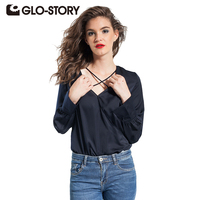 GLO STORY Women S Shirt 2017 Summer New Siamese Shirts Fashion V Neck Flare Sleeve Chiffon