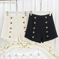 Women S Shorts Double Breasted Shorts High Waist A Word Wide Legs Shorts Copper Buckle Decorated