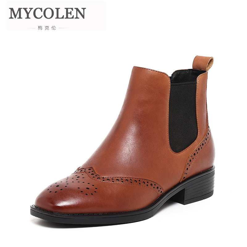 MYCOLEN New Chelsea Boots Women Shoes Comfortable Round Toe Thick Heels Shoes Band Fashion Solid Slip-on Ankle Boots Waterproof mycolen brand new chelsea boots british style fashion comfortable male thick soles ankle boots slip on casual shoes botas hombre