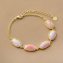 Chain Link Bracelets Gold Color Rouge Shell Charm Bracelets High End Natural Stones Bracelet Women Girlfriend Gifts(China)