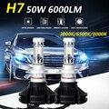 Oslamp H7 Led Car Headlight Bulbs CREE CSP Chips 50W 6000LM 3000K/6500K/8000K Led Headlight Kits Auto Headlamp Fog Light 12v 24v