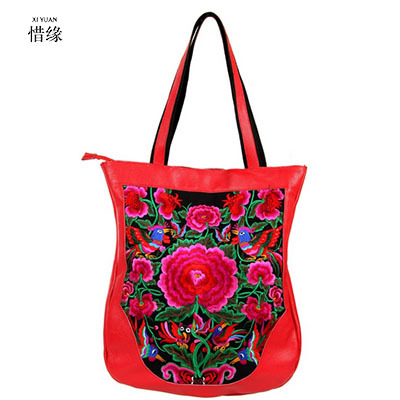 83cc2c2c62b Chinese Style Flowers Embroidery Ethnic black red brown Handbag Women  Canvas Tote Shopping Bag Bolso Mujer female shoulder bag
