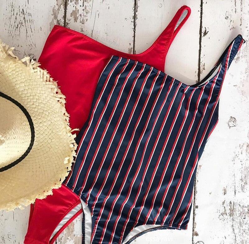 2018 New One Shoulder Stripped One-Piece Swimsuit Bathing Suit Swimwear Beachwear For Women