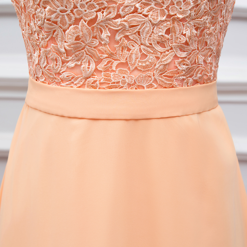 High Quality Back Chiffon Lace Long Peach Color Bridesmaid Dress Brides Maid Bd111 In Dresses From Weddings Events On Aliexpress