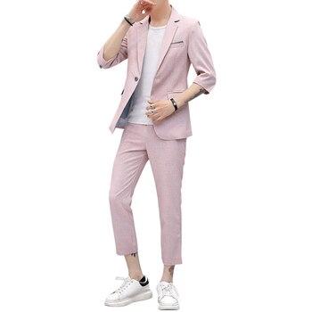 9825f805f51 Ropa de verano 2019 Mens Casual pantalón de abrigo chaqueta de traje de  hombre Slim Fit Vestido de manga corta traje de terciopelo delgada chaquetas  y ...