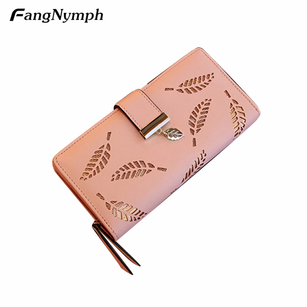 FangNymph Women Wallet Hollow Out Leaf Bifold Long Wallet Female PU Leather Card Coin Holder Purse