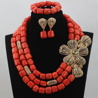 Big Coral Beaded Bold Statement Necklace Set DIY Lady Fashion African Jewelry Sets High Quality Free Shipping CNR593