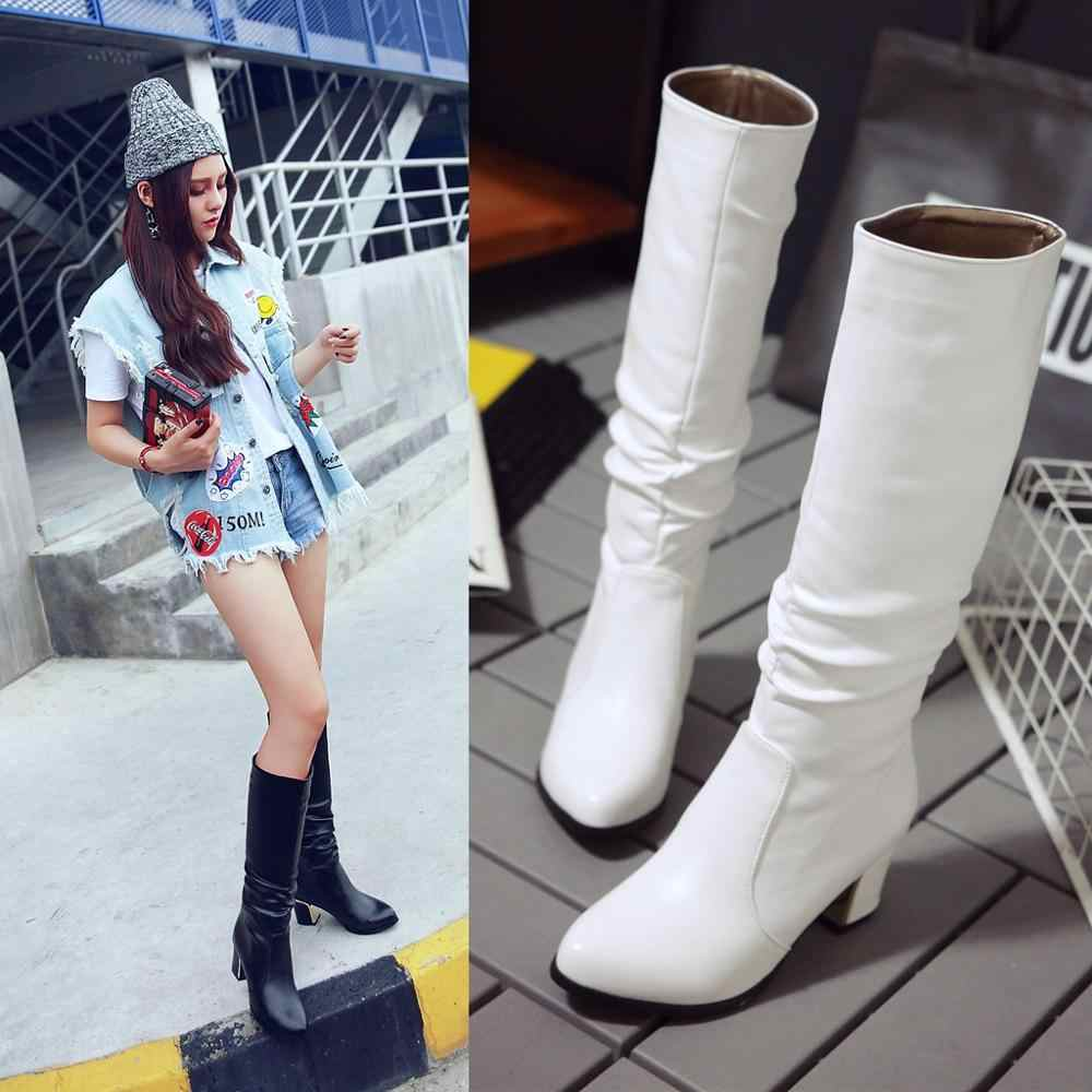 Knee High Women Boots Round Toe Pu Short Plush Footwear High Heels Female Boots 2019 Black white Plus Size 33-43