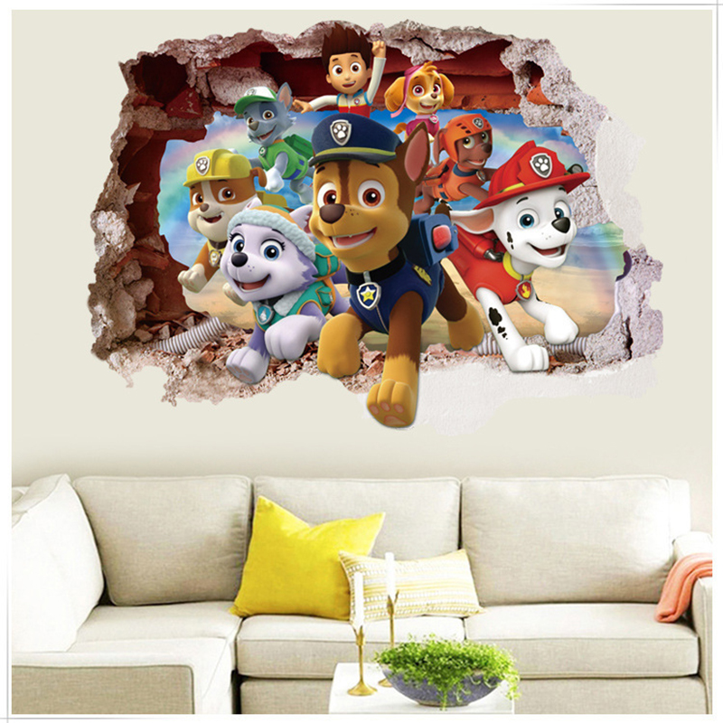 Paw Patrol 3d Sticker Wall Wallpaper Kids Room Stickers Decoration PVC Action Figure Anime Stickers Patrulla Canina Toys <font><b>SS41</b></font> image