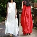 SERENAMENTE 2016 Verano 100% Vestido Vestidos de Partido de Las Mujeres Vestidos Casual Vestido de Tirantes Sin Mangas Floja de Lino Vestido Maxi Vestidos Blancos S70