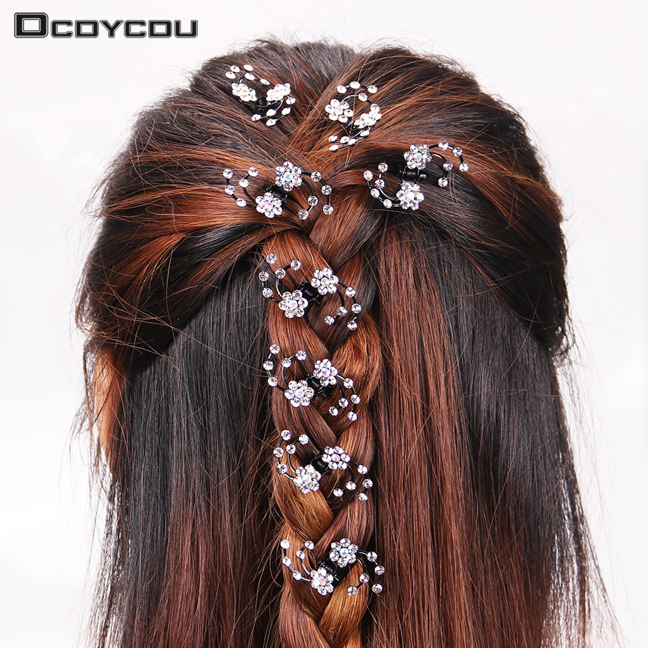 us $0.75 59% off|6pcs/1 pack wedding bridal hair claws women mini headwear rhinestone snowflake hair clips flower hairpins hair accessorie-in hair