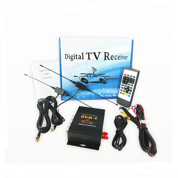 4 Video output, dual antenna Car DVB-T MPEG-4 Digital TV Dual Tuner TV Receiver Mini TV Box For Car DVD new car dvb t2 digital tv box dual tuner mpeg2 and mpeg4 avc h 264