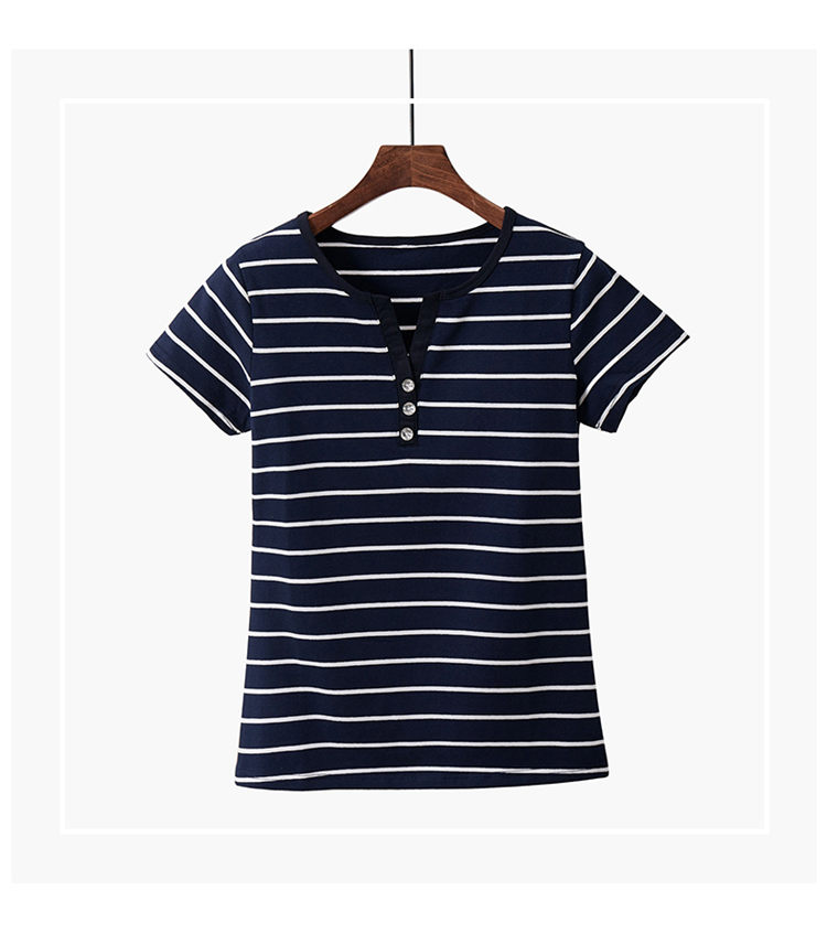 Women T-Shirt Cotton Short Long Sleeve Lady T Shirt Striped Summer Spring Autumn Female Blusa White Plus Size Fashion Top Tee T0
