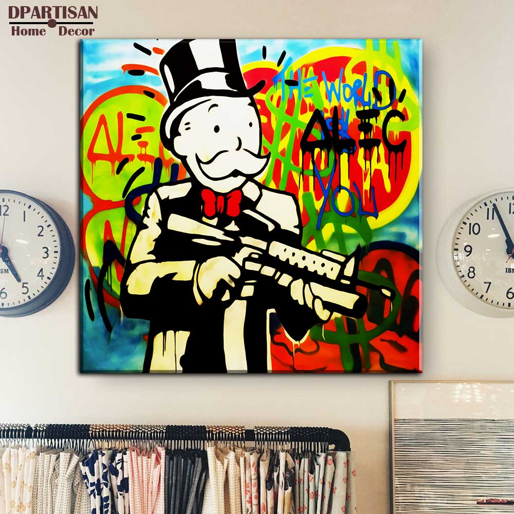 dpartisan alec monopoly huge gun canvas print pop art. Black Bedroom Furniture Sets. Home Design Ideas