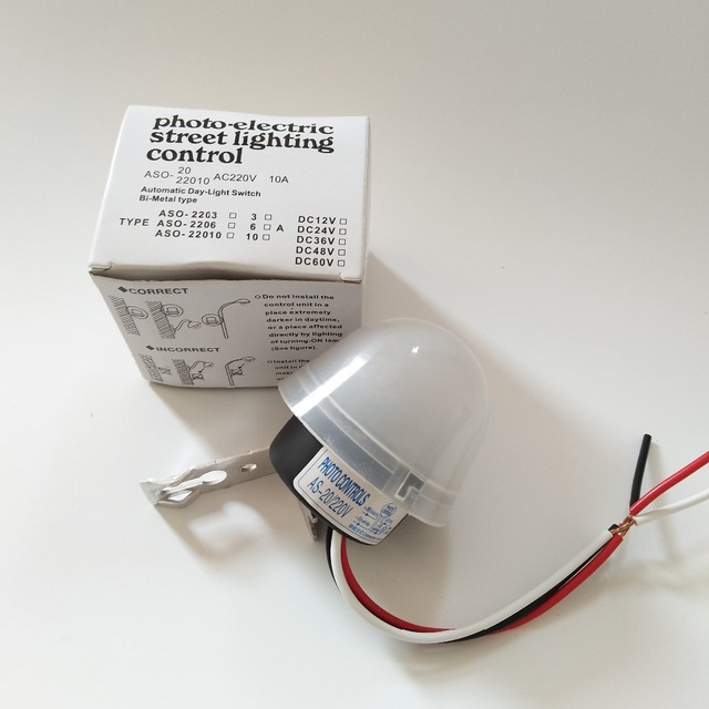 Adjustable Sensitive Auto On Off Photocell Street Light Switch DC AC 220V  10A Electronic Photo Control