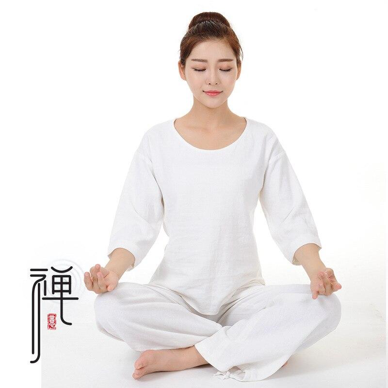 Women Autumn Yoga Suit Loose Trousers Tops Set Ladies Linen Outdoor Yoga Clothes Zen Meditation Clothing Kovos Meno Rinkiniai
