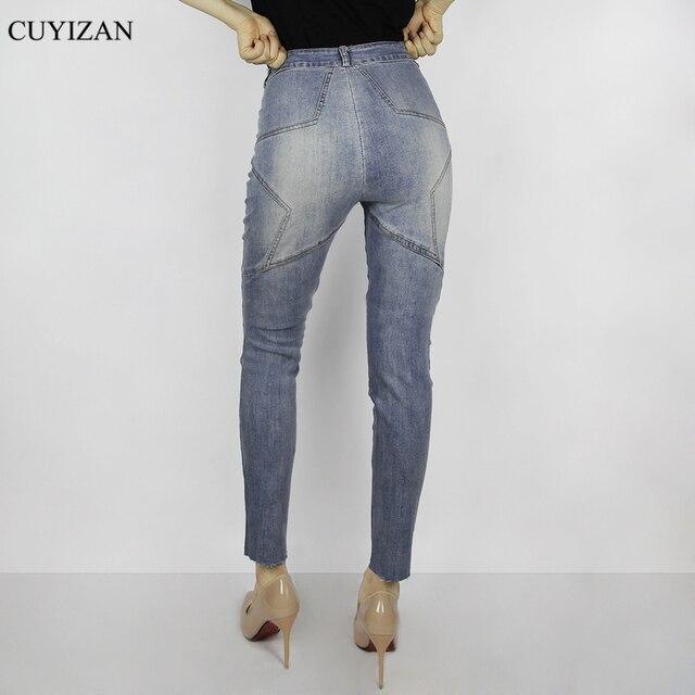 668302825e CUYIZAN Estrella Nalgas Pantalones Vaqueros de Cintura Alta de Las Mujeres  de Bolsillo de La Vendimia