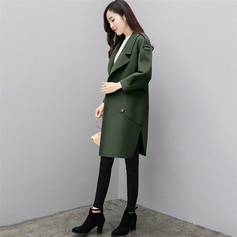Mince De Ld679 Army Automne Green Bureau Carmin Plus Manteau Mode Chic carmine D'hiver Nouvelle Lâche caramel 2018 Manteaux Long Élégant Vestes Coréenne Femmes Taille Laine ORqx1T4n