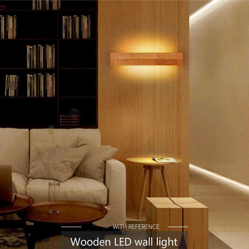Simple Rubber Wood Wall Lamp For Bedroom Led Bedside Lamp