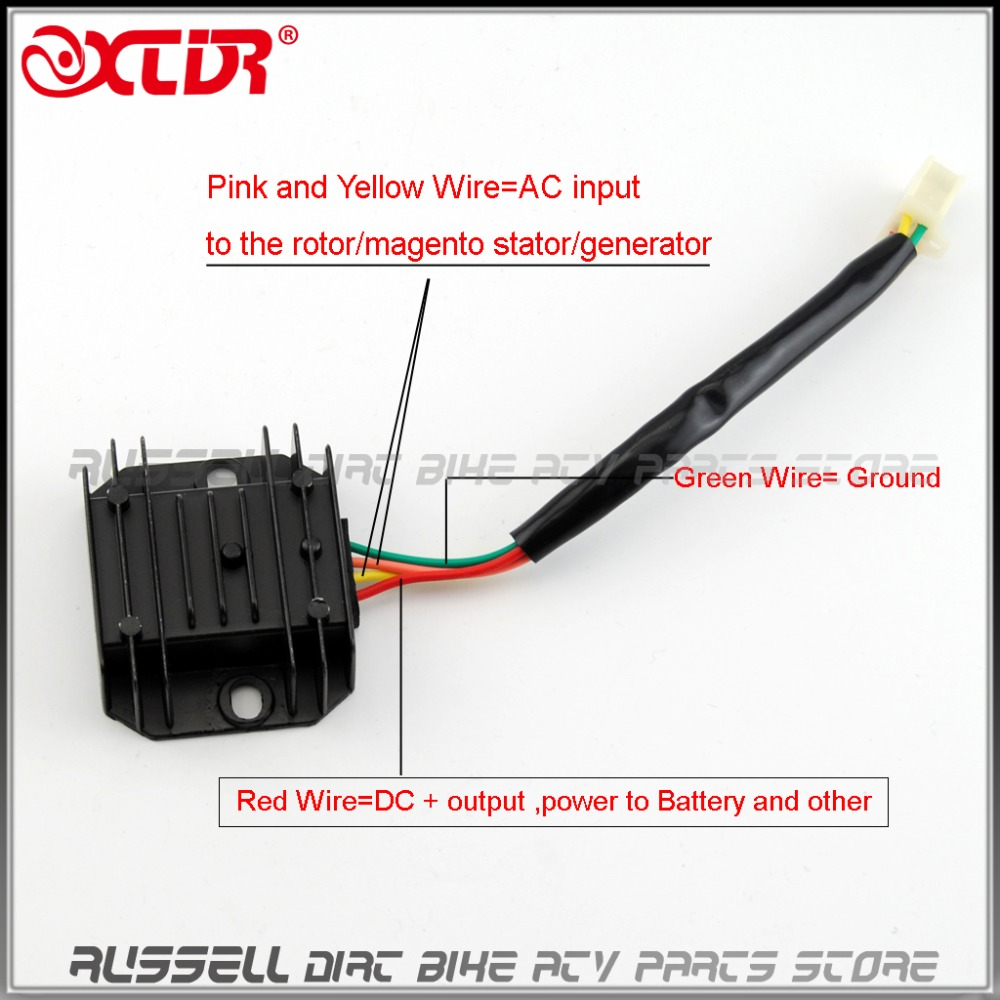 medium resolution of 4 wires voltage regulator rectifier for gy6 50 150 250cc atv quad honda crf regulator rectifier wiring