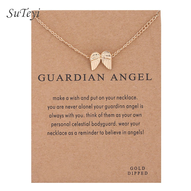 SUTEYI Simple Style Guardian Angel Necklace Gold Color Chain Angel Wings Pendant Necklaces For Women Birthday Gifts With Card