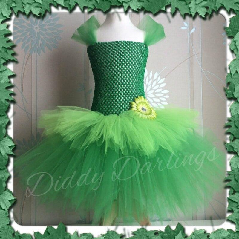 POSH SOGNO Trilli Bambini Girl Dress Fata Verde Tinkerbell Ispirato Abito Tutu Delle Ragazze Woodland Fata Bambini Costume Cosplay