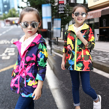 лучшая цена Girls Spring Jackets Children Jacket For Girls Kids Casual Hoodie Jackets Teengers Windbreaker Outerwear Waterproof Trench Coat
