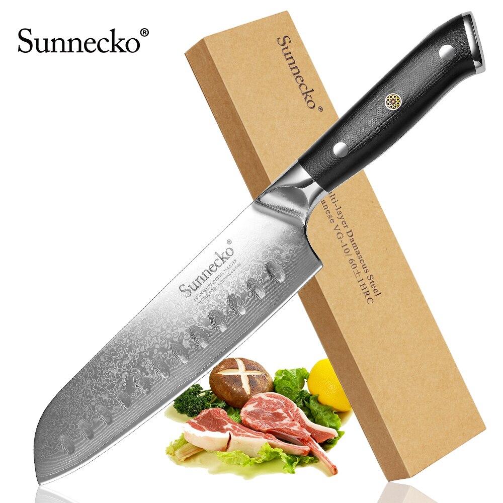 """Cuchillo de cocina Premium SUNNECKO de 7 """"Santoku cuchillo de cocina japonés VG10 cuchilla de acero cuchillos afilados mango G10 cortador de Chef de Damasco-in Cuchillos de cocina from Hogar y Mascotas    1"""