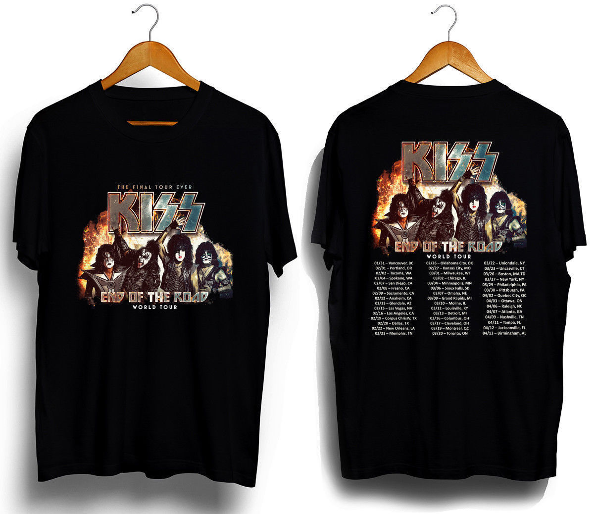 New Kiss Band End of The Road Tour 2019 T SHIRT S-3XL MENS TEE 2SIDE Short Sleeves Cotton T-Shirt Fashion