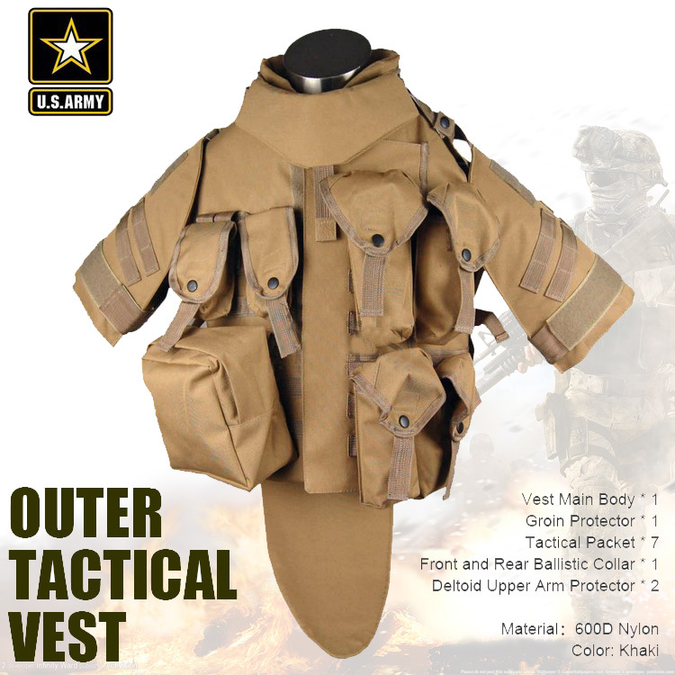 US Army Khaki camouflage tactical vest 600D nylon brown molle military cs paintball vest combat vest
