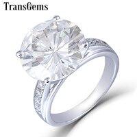 Transgems большой камень 10 K белого золота 5.35CTW центр 11 мм H I изделие обручальное кольцо кольца с акцентами