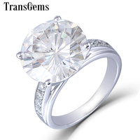 Transgems 10K White Gold Center 5.35CTW 11mm H I color Moissanite Engagement Rings with Accents For Women Anniversary Gifts