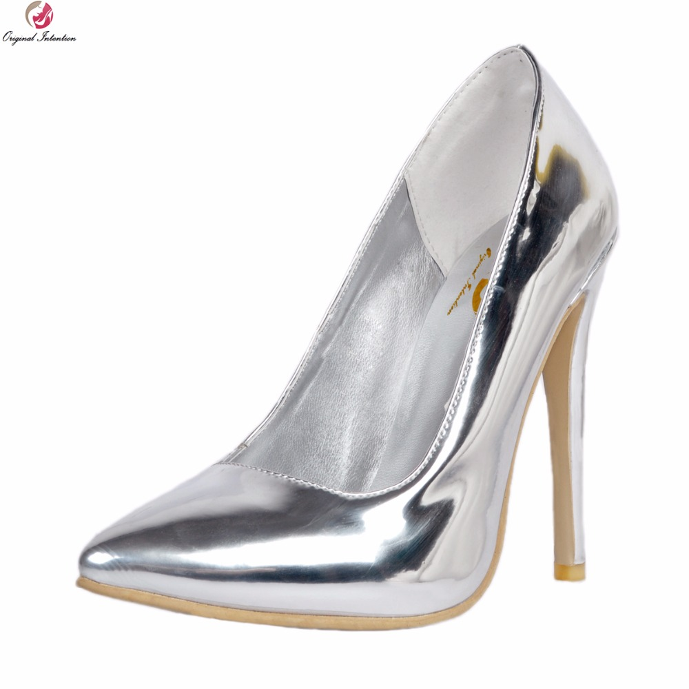 Original Intention New Elegant Women Pumps Sexy Pointed Toe Thin High Heel Pumps Fashion Silver Shoes Woman Plus US Size 4-15 new 2017 spring summer women shoes pointed toe high quality brand fashion womens flats ladies plus size 41 sweet flock t179
