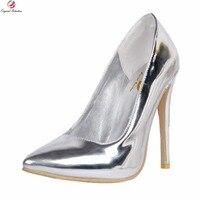 Originele Bedoeling Nieuwe Elegante Vrouwen Pompen Sexy Puntschoen Dunne hoge Pompen Mode Zilveren Schoenen Vrouw Plus US Size 4-15