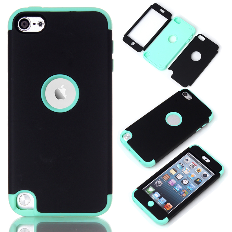 3 in 1 Hard&Soft Silicone Hybrid Case For Apple iPod Touch 5 Cover Full Body Case Shell w/Screen ...