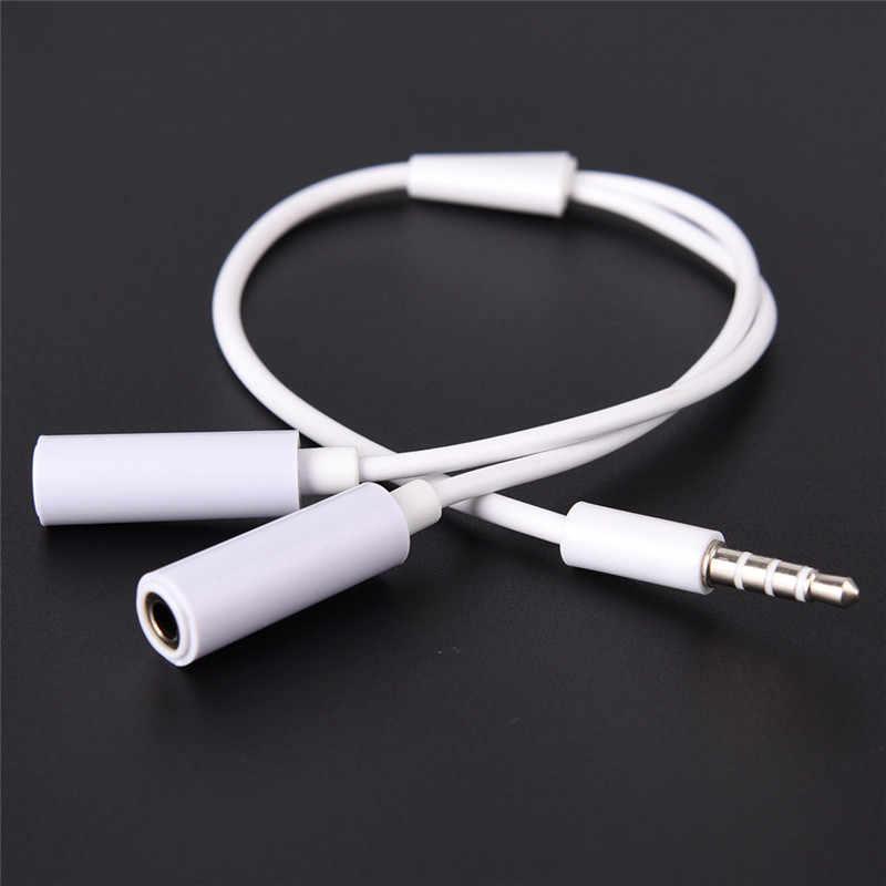 Biały Splitter słuchawki Jack 3.5 Mm Stereo Audio Y Splitter 2 kobiet do 1 mężczyzna adapter do kabla mikrofon wtyczka dla słuchawki