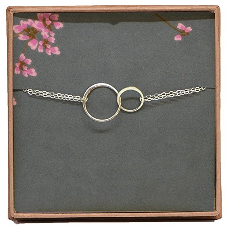1PC Korean Bracelet Silvery Necklace High Quality Round Double Circle Allergy  Exquesite Wedding gifts Adjustable