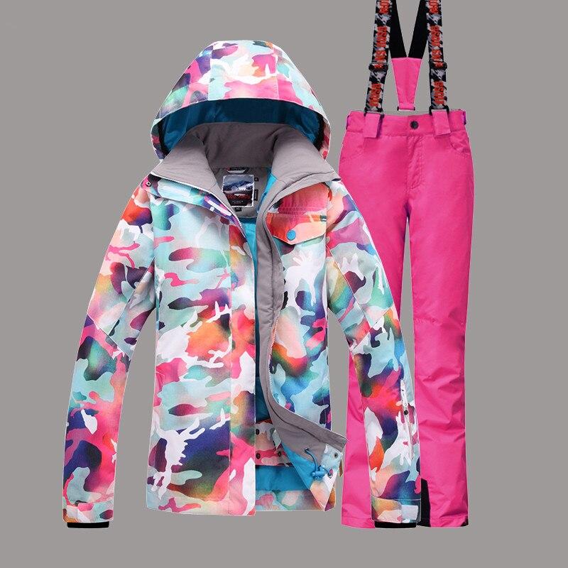 Prix pour Femmes Coupe-Vent Imperméable Ski Veste + Pantalon Épaissir Thermique Super Chaud Vêtements Snowboard Ski Costume Sport En Plein Air Usure Mâle Ensemble