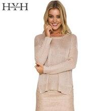 HYH HAOYIHUI Spring New Fashion Sweater Women Vintage Cross Back O-Neck Solid Slim Pullover Female Elegant Brief Knitted Tops