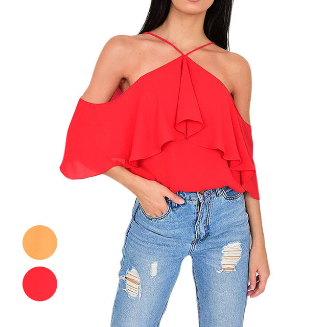 9a60c4ed66f Women Sexy Off Shoulder Short Sleeves Blouse Spaghetti Straps Solid Color  Chiffon Blouses Tops FS99