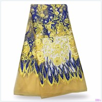 Nigerian Tulle Lace Fabric Fast Shipping African Lace Fabric For Wedding Yellow Color Embroidery beaded lace fabric  f146102151